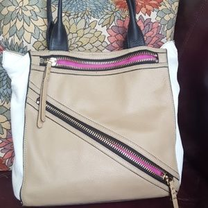 Designer Botkier Leather Beige and White Tote Bag